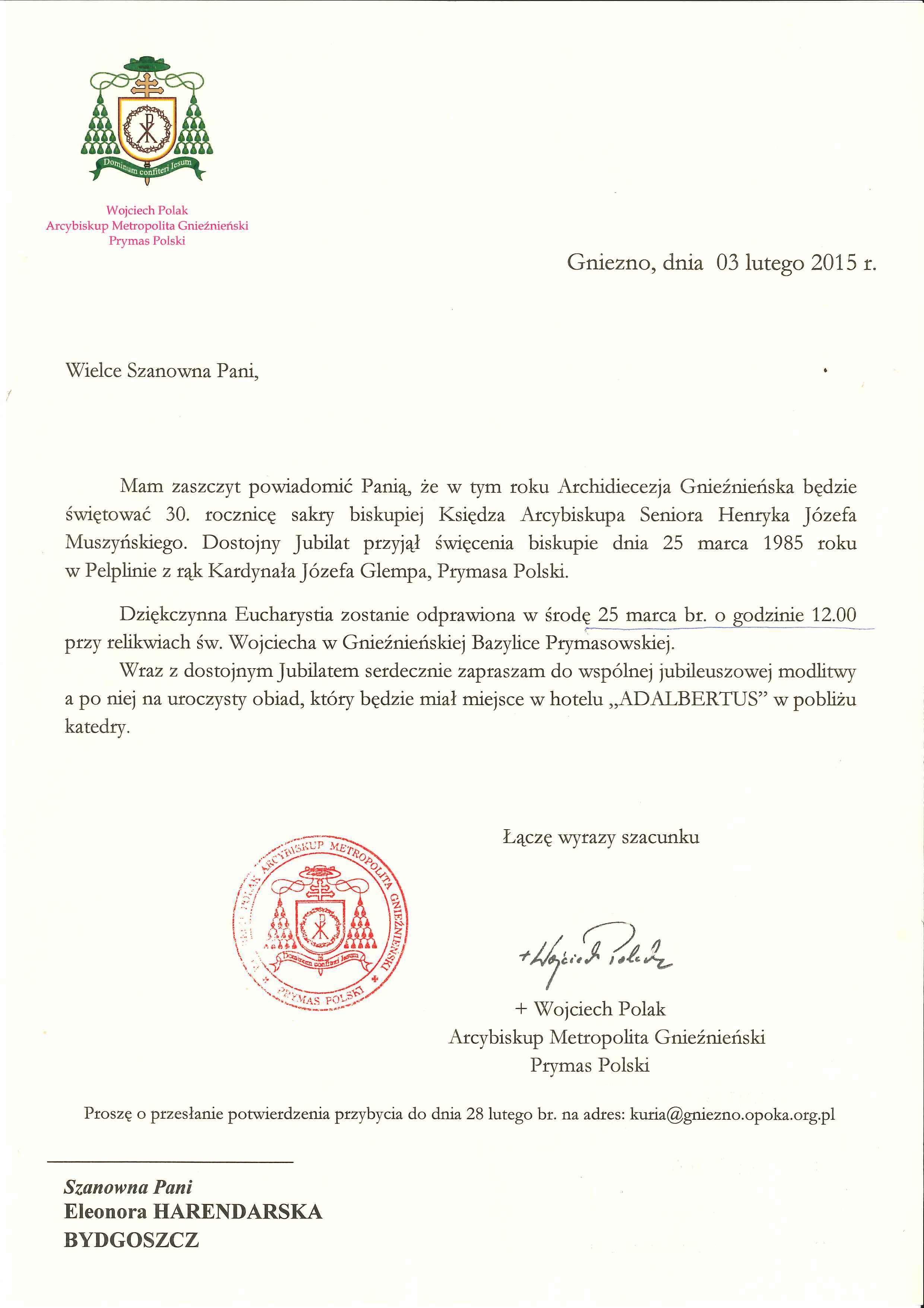 Zaproszenie Na 30 Rocznicę Sakry Biskupiej Księdza Arcybiskupa